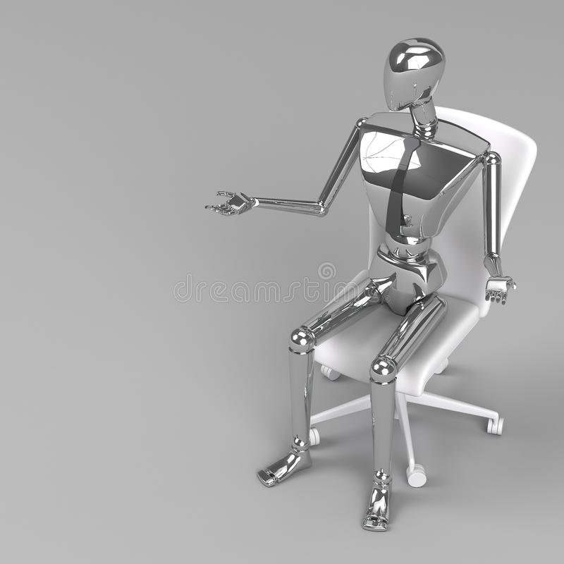 3d rendering businessman doll. Is sitting on chair vector illustration