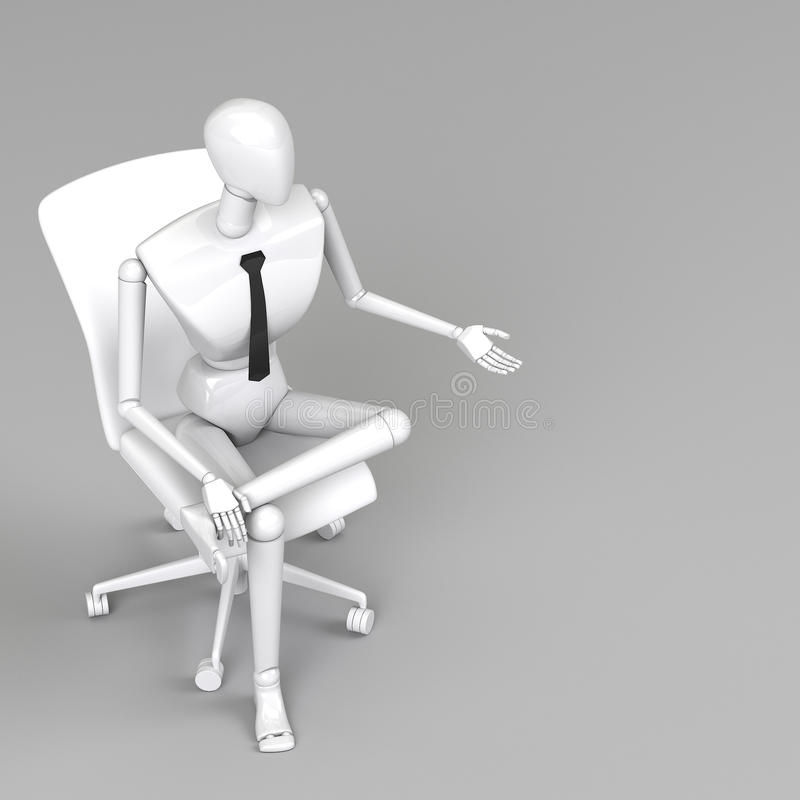 3d rendering businessman doll. Is sitting on chair stock illustration