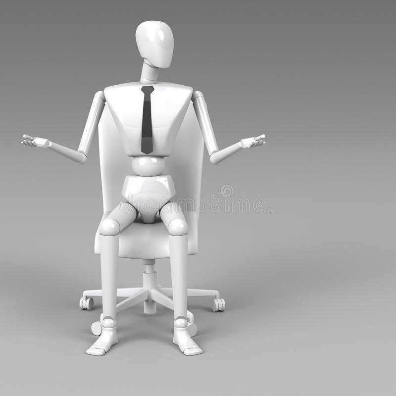 3d rendering businessman doll. Is sitting on chair royalty free illustration