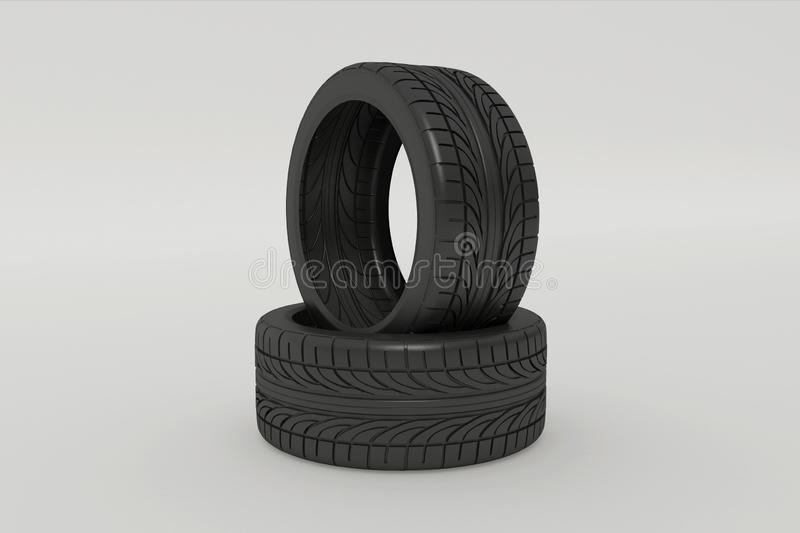 3d rendering of car tires. On white background vector illustration