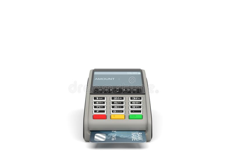 3d rendering of a card payment terminal with a sticking plastic card inside on white background. vector illustration
