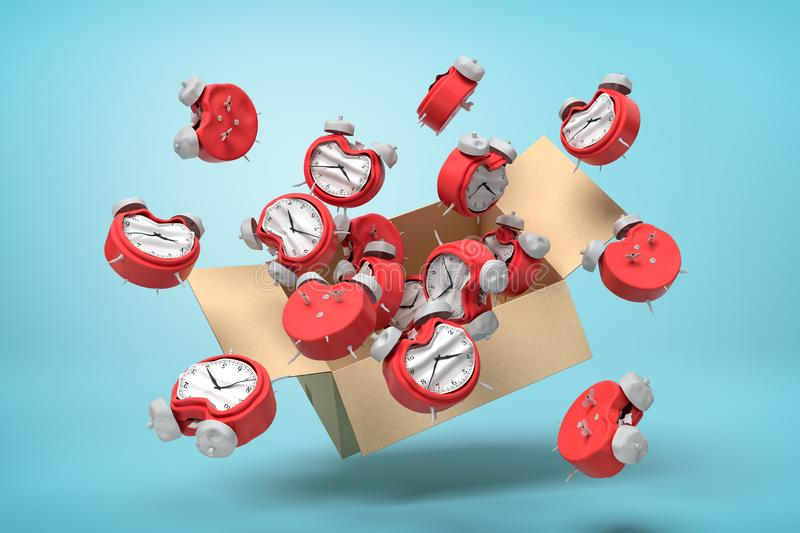 3d rendering of cardboard box in air full of bent deformed alarm clocks which are flying out and floating outside on. Light-blue background. Run out of time stock illustration