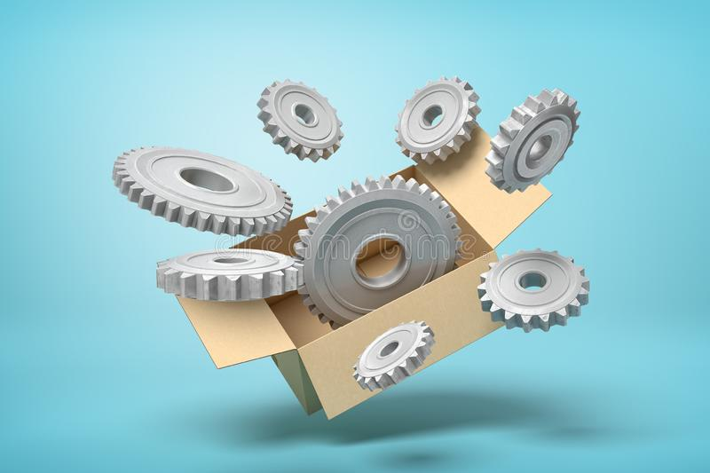 3d rendering of cardboard box in air full of grey metal cogwheels flying out from it on light-blue background. royalty free illustration