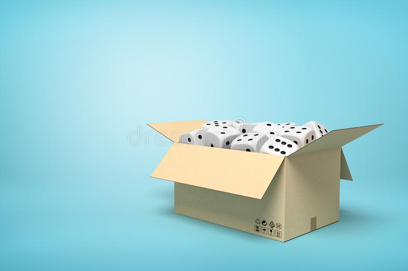 3d rendering of cardboard box full of white dice with black spots on light-blue background with copy space. Probability calculation. Game supplies. Retail vector illustration