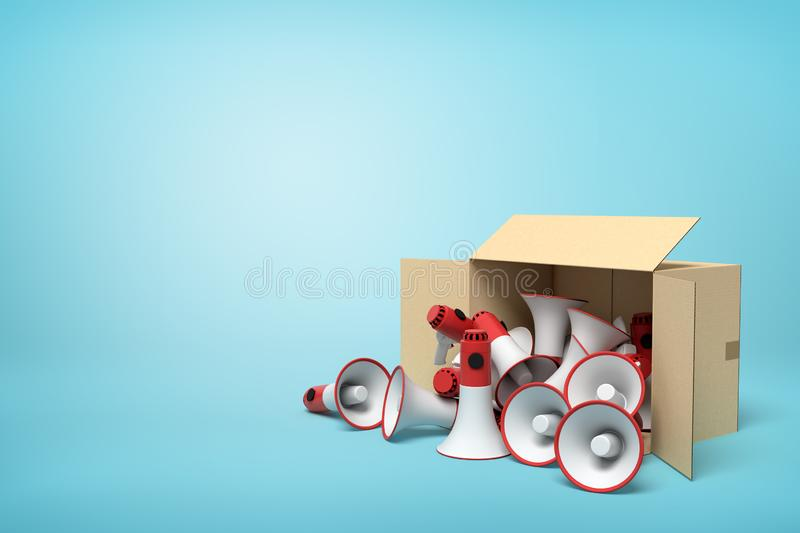3d rendering of cardboard box lying sidelong full of red and white megaphones on light-blue background with much copy. Space. Speak out. Get message across vector illustration
