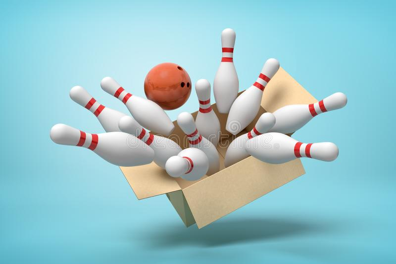 3d rendering of cardboard box full of white bowling pins and one brown bowling ball in mid-air on light-blue background. 3d rendering of cardboard box lying stock images