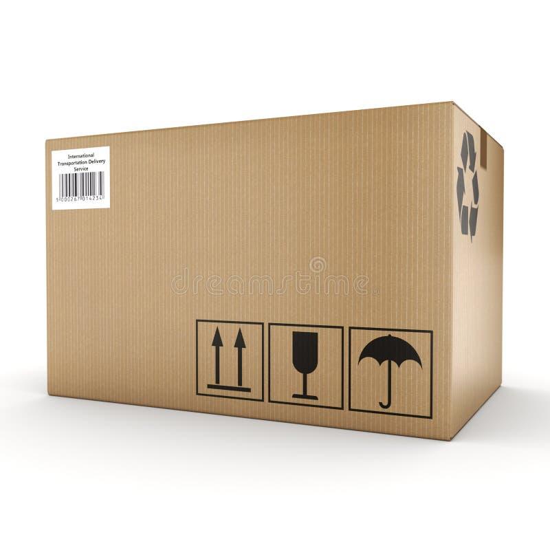 3D rendering cardboard box stock illustration
