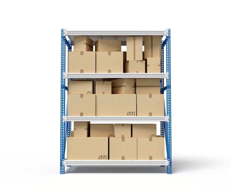 3d rendering of cardboard boxes on metal racks vector illustration