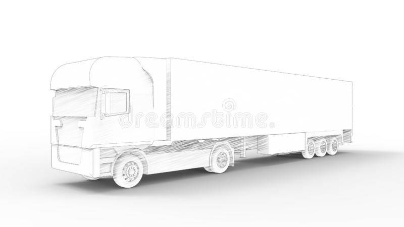 3d rendering of a cargo truck isolated in white background vector illustration