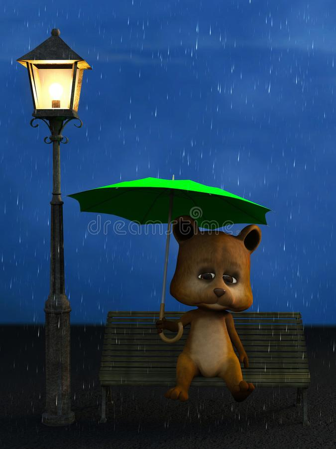 3D rendering of a cartoon bear in the rain at night. royalty free stock images