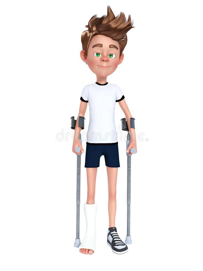 3D rendering of a cartoon boy with broken leg. 3D rendering of a cartoon boy having a broken leg in cast and using crutches. White background stock illustration