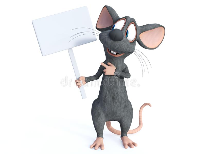 3D rendering of a cartoon mouse holding blank sign. 3D rendering of a cute smiling cartoon mouse holding a blank sign. He is looking at the sign and seeming royalty free illustration