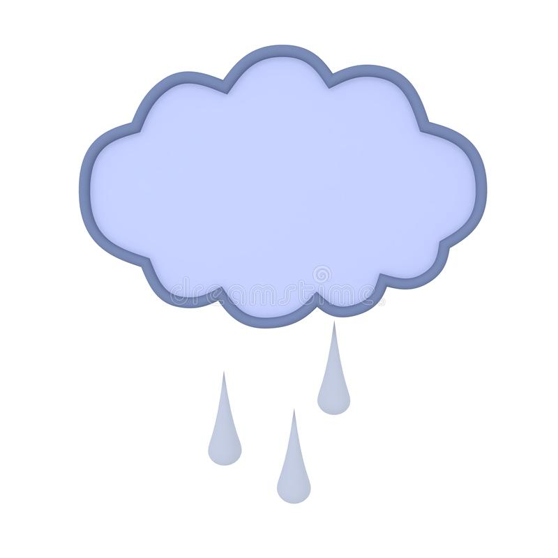 3D Rendering of cartoon rain cloud with water droplets. 3D Rendering isolated on white stock illustration