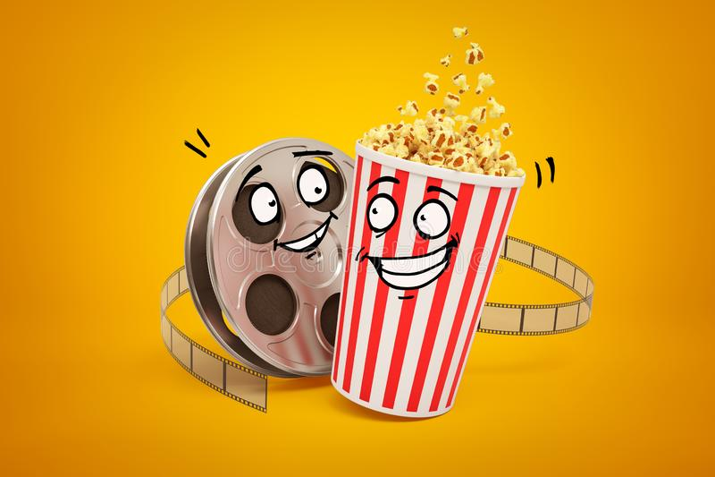 3d rendering of cartoon smiley popcorn bucket and film reel on yellow background. Digital art. Movie symbols. Cinema industry stock illustration