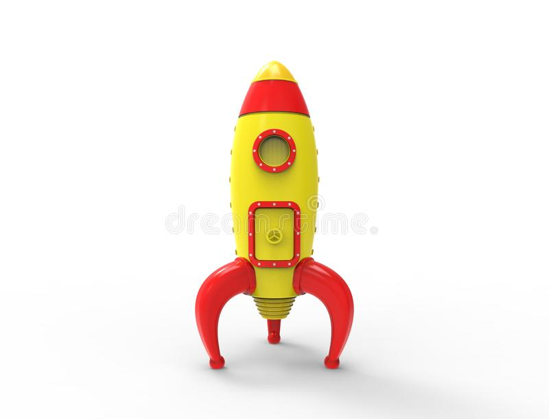 3D rendering of cartoon toy rocket ioslated on white background vector illustration