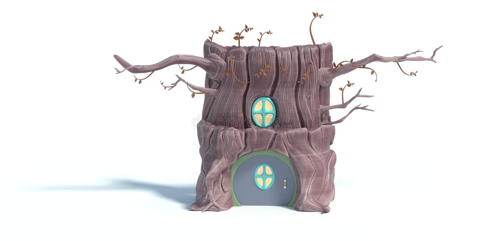 Fantasy House On A Tree Trunk  3D Stock Illustration