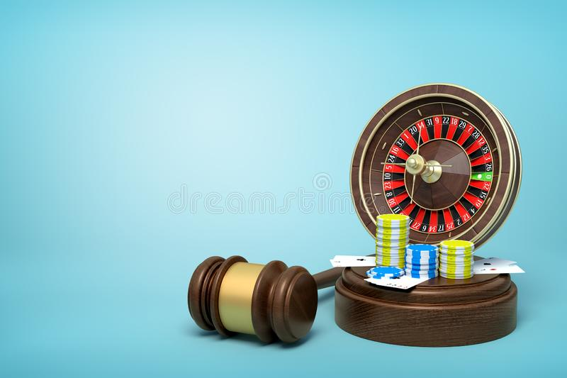 3d rendering of casino roulette, chips and playing cards on round wooden block and brown wooden gavel on blue background. Way to success. Fortune and glory stock illustration