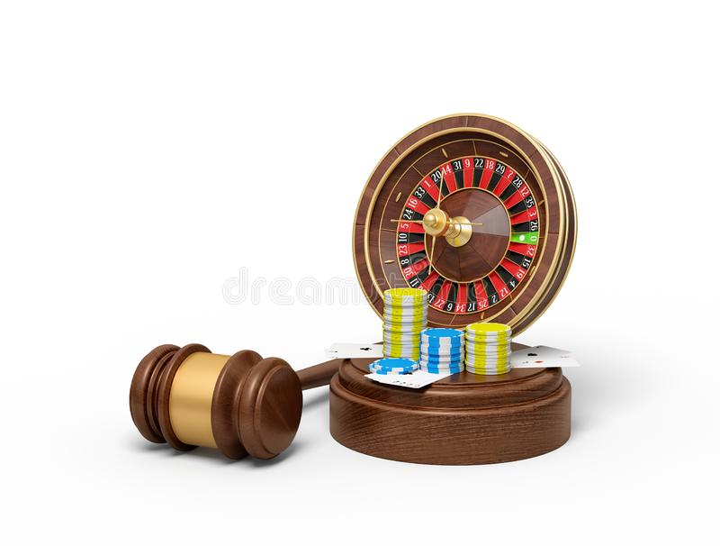 3d rendering of casino roulette, chips and playing cards on round wooden block and brown wooden gavel vector illustration