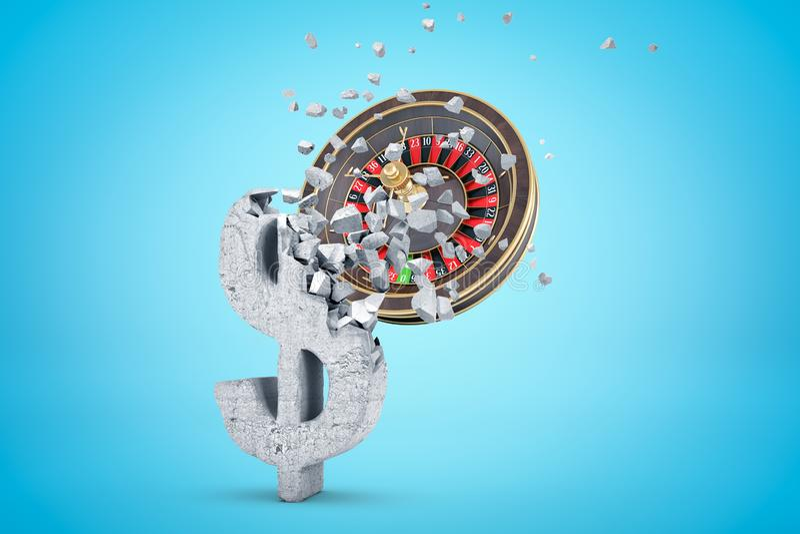 3d rendering of casino wheel hitting and breaking grunge stone dollar symbol on light blue gradient background. stock illustration