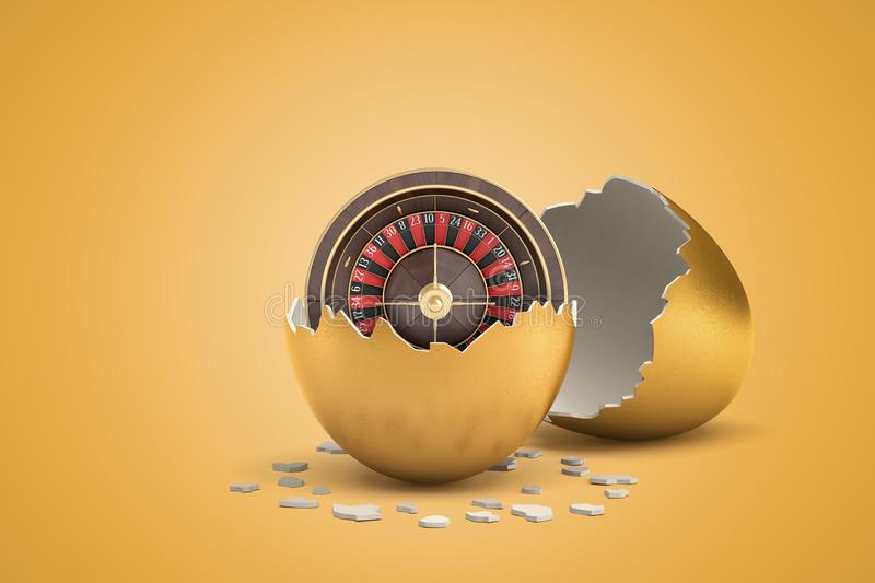3d rendering of casino wheel that just hatched out from golden egg. Casino betting. Advertising. Gambling industry vector illustration