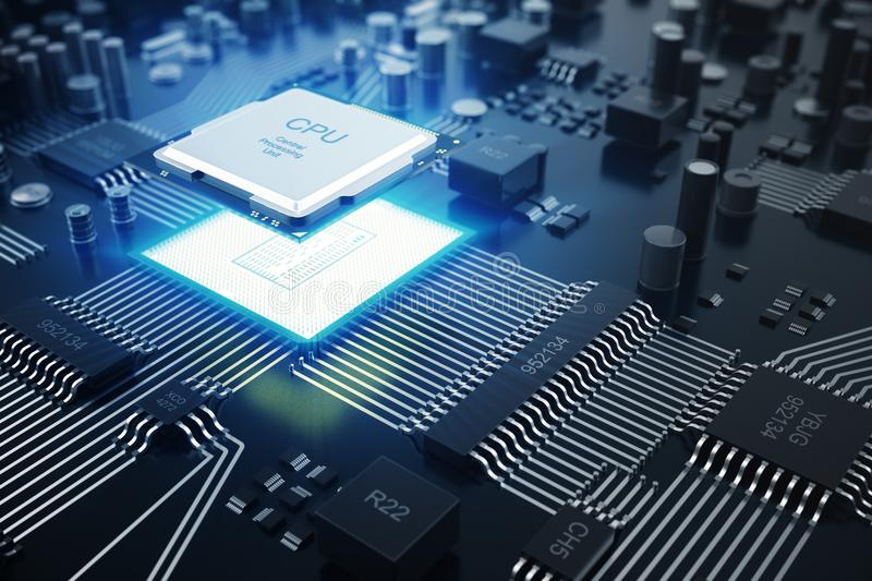3D rendering Central Computer Processors CPU concept. Electronic engineer of computer technology. Computer board chip royalty free illustration