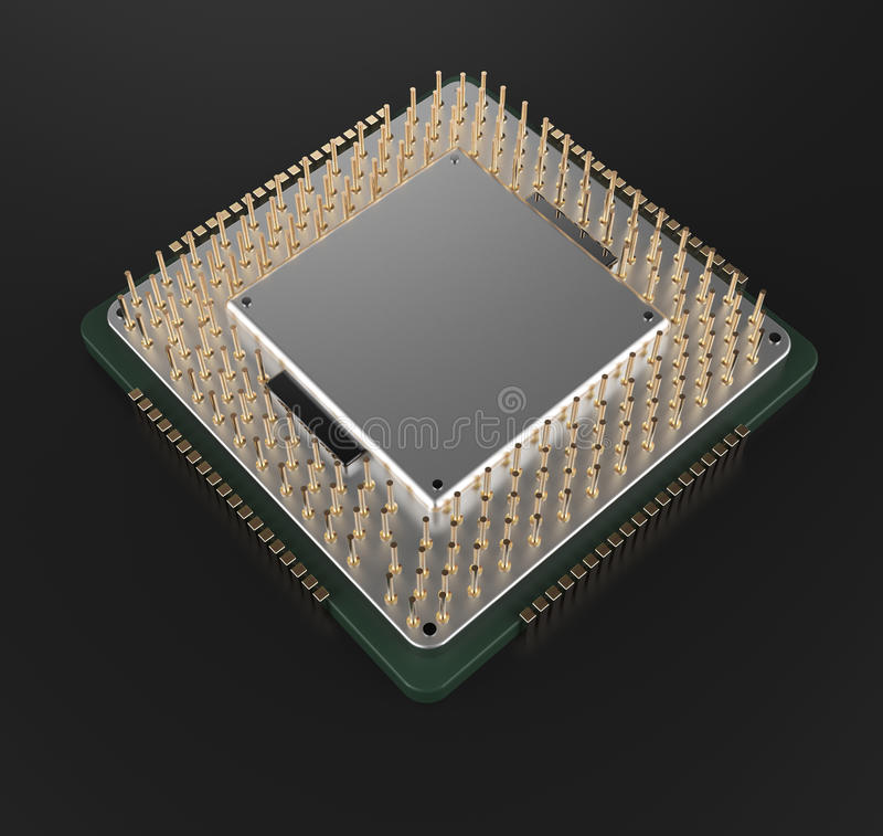 3d rendering of Central Computer Processors CPU stock illustration