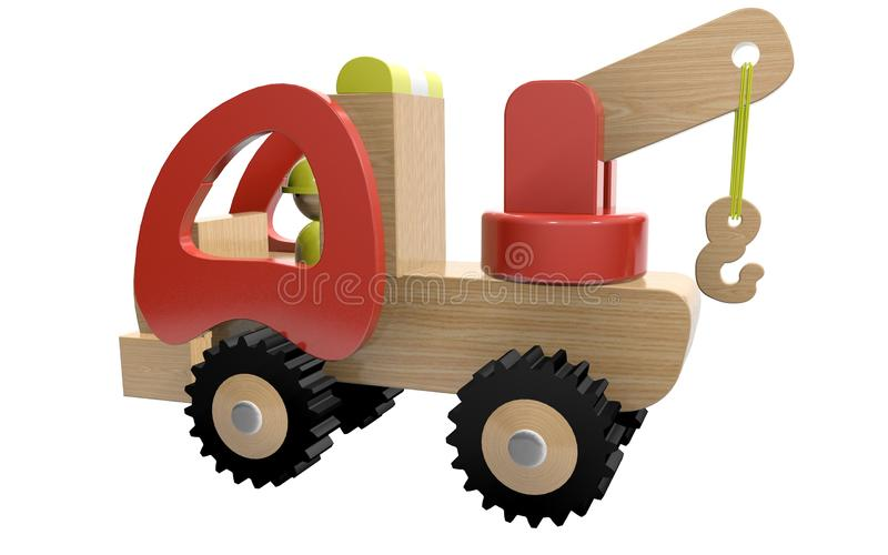 3d rendering of a children`s toy, a car crane,. Made of various types of wood and plastic vector illustration
