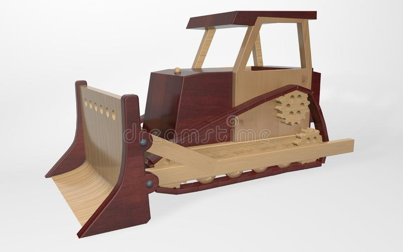 3D rendering children`s toy, a large tractor bulldozer. Made of various types of wood royalty free illustration