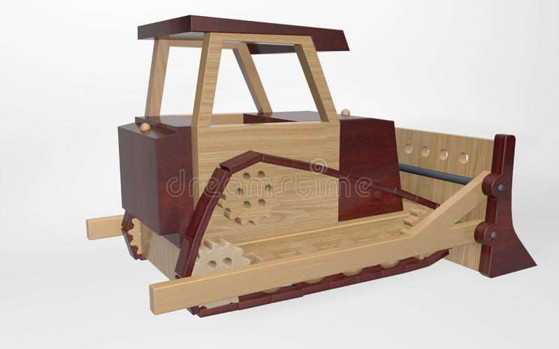 3D rendering children`s toy, a large tractor bulldozer. Made of various types of wood vector illustration