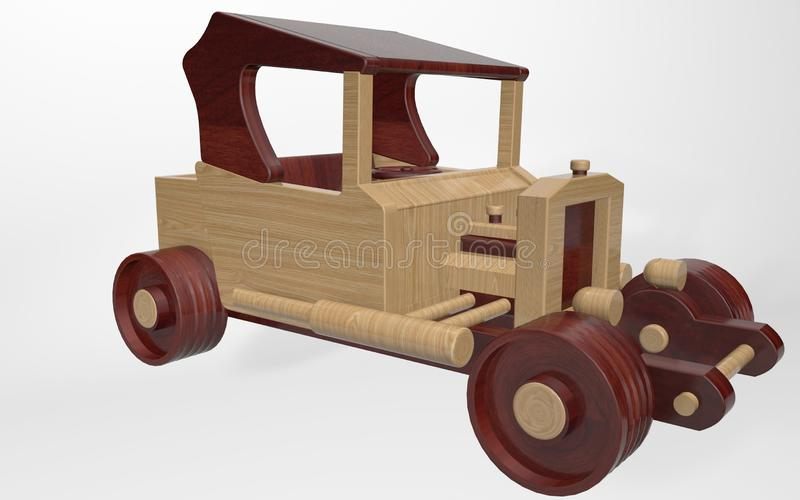 3d rendering of a children's toy, retro car. Made of various types of wood vector illustration