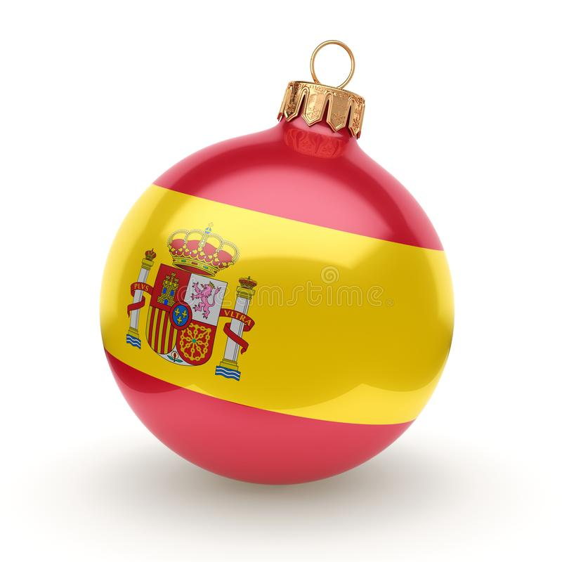 3D rendering Christmas ball. Decorated with the flag of Spain stock illustration