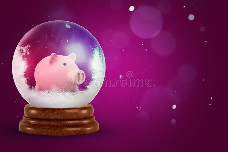 3d rendering of christmas snow globe with piggy bank inside on dark pink background. Home and decoration. Glass spheres. Christmas gifts royalty free stock photo