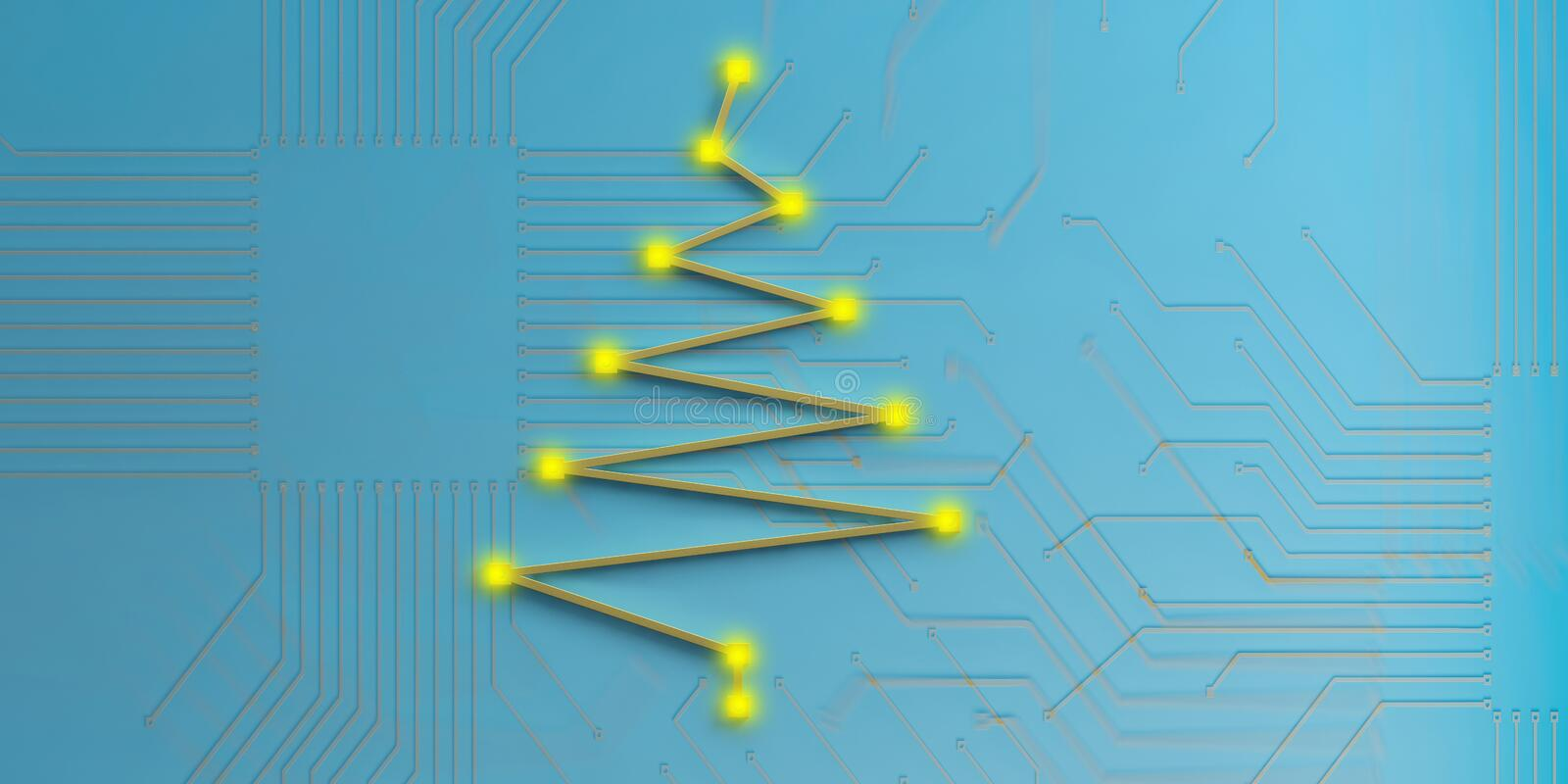 3d rendering christmas tree electronic circuit. On blue background royalty free illustration