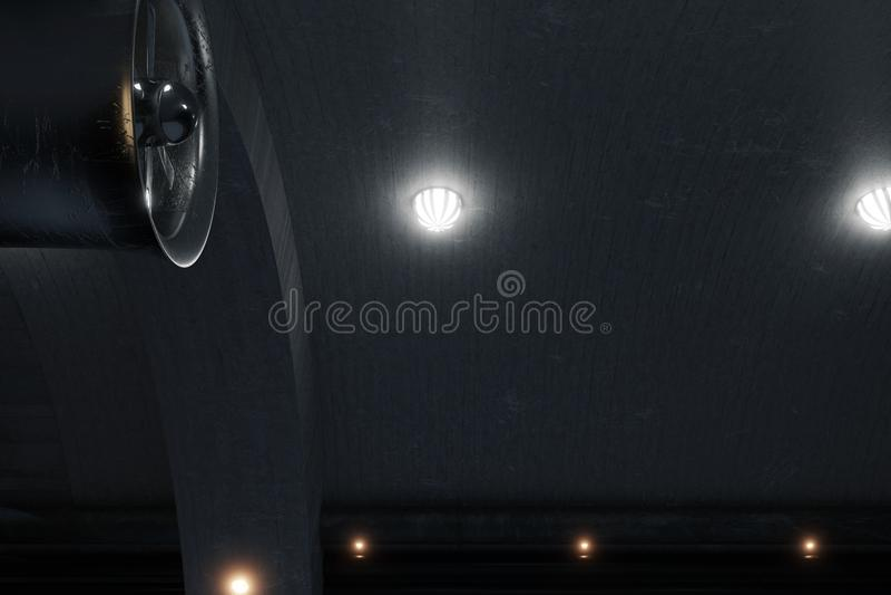 3d rendering ciemni betonowego tunel z bocznymi lampami i dużym v royalty ilustracja