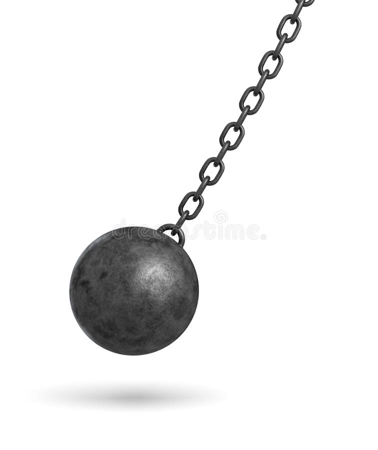 3d rendering ciemny czerń rujnuje balowego obwieszenie od łańcuchu i chlanie w jeden stronie ilustracja wektor
