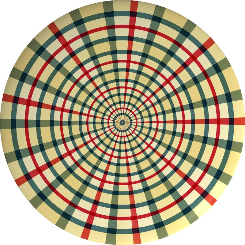 3D rendering of circle on white background. Tartan style. Gingham, line, button, graphic, big, piece, object, clothing, dress, shirt, creative, artist, new stock illustration