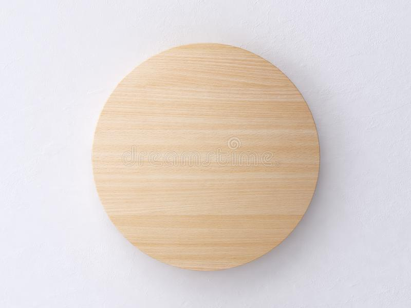 3d render circle wood texture white wall abstract minimal background royalty free illustration