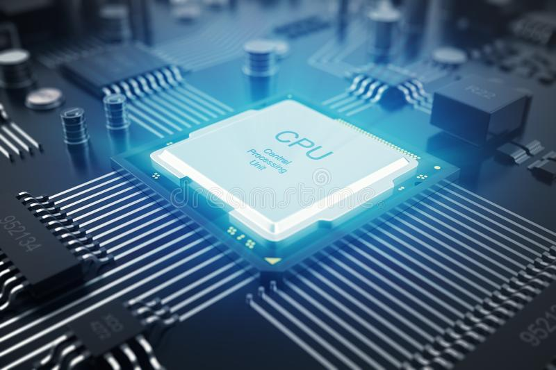 3D rendering Circuit board. Technology background. Central Computer Processors CPU concept. Motherboard digital chip. Tech science EDA background. Integrated vector illustration