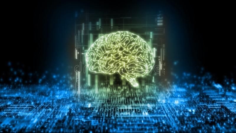 3D Rendering of Circuit brain on abstract technology background. Artificial intelligence concept. royalty free illustration