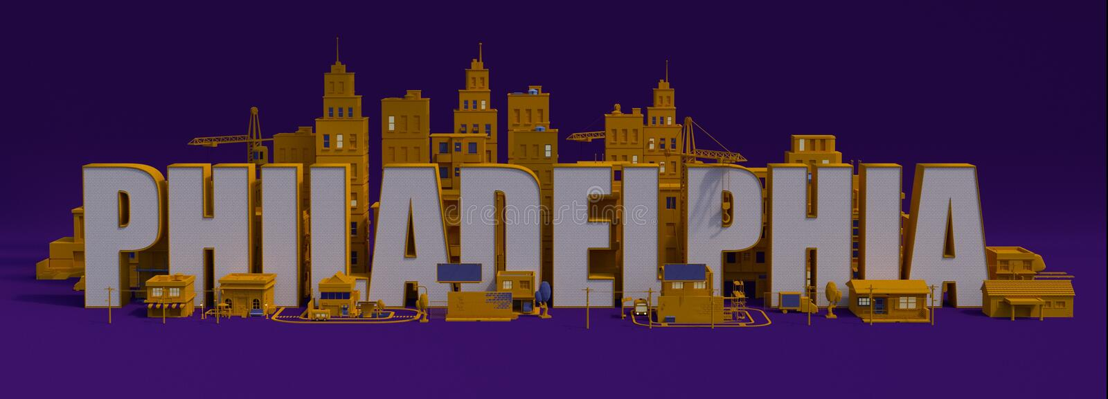 3d rendering city with buildings, New York City lettering name. New York City lettering name, 3d rendering city with buildings stock illustration