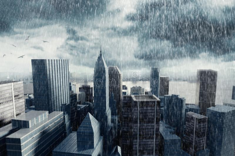 3d rendering of cityscape with high building in front of stormy royalty free illustration