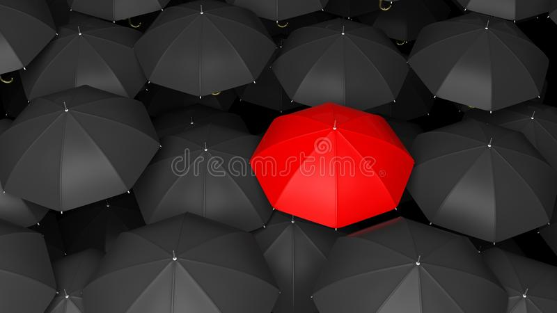 3D rendering of classic large black umbrellas tops with one red. Standing out stock illustration