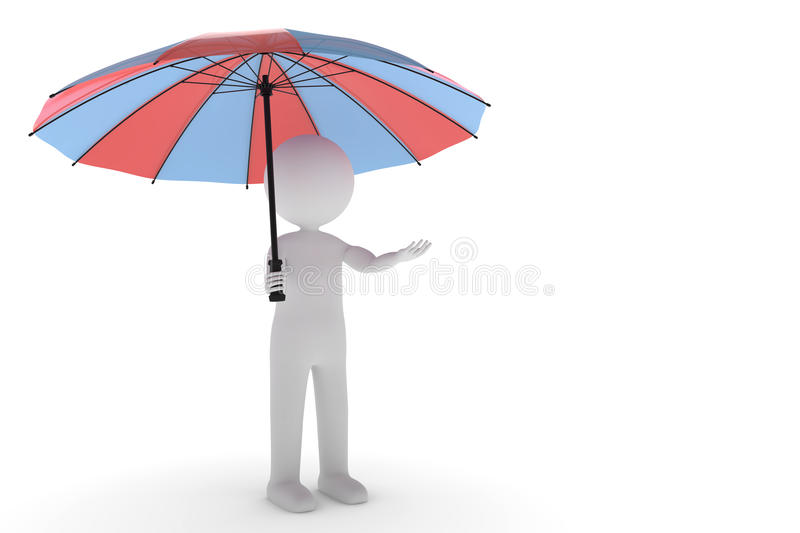 3D rendering from a clay character standing in the rain with a two colored umbrella and a outstretched hand royalty free illustration