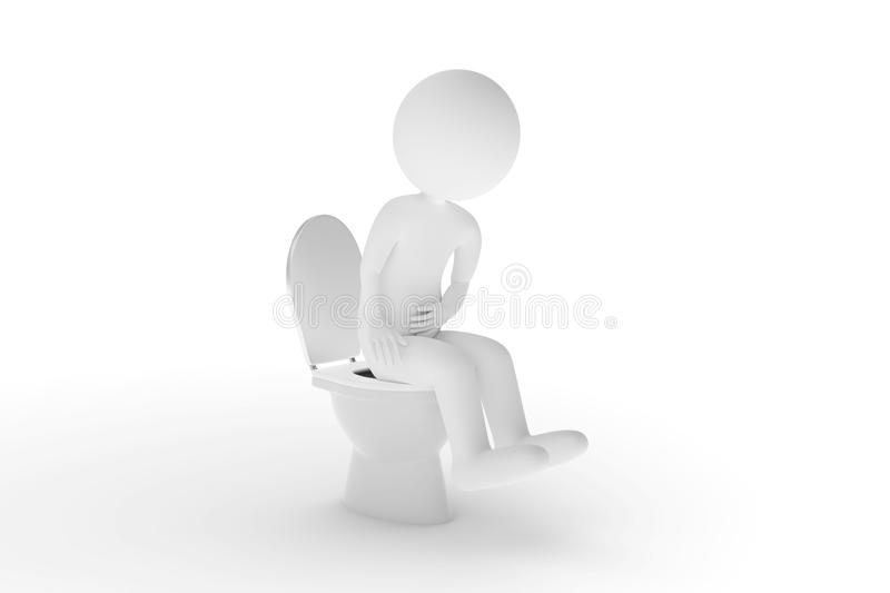 3D rendering from a clay character who is sitting on the toilet with acute abdominal pain royalty free illustration