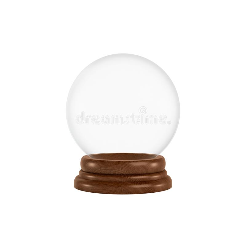 3d rendering of a clear glass sphere on a white background standing on a wooden base with nothing inside it. Holiday mementos. Christmas gift. Keepsake vector illustration