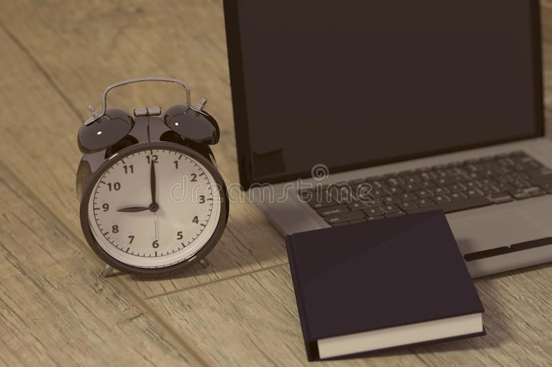3D rendering of a clock, laptop and book for studies for works royalty free illustration