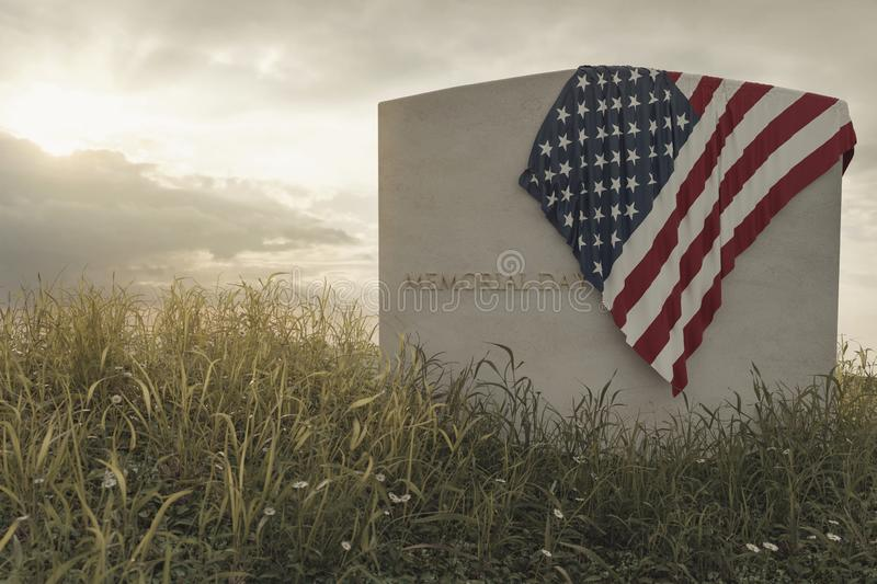 3d rendering of close up American flag laying on grave at the peaceful flower meadow to remember the memorial day vector illustration
