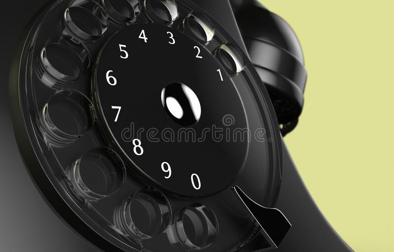 A close up of the dial of an old vintage black phone royalty free stock images