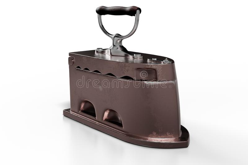 3d rendering close-up shot of the antique rusty coal iron with wooden handle, isolated on white background with clipping paths royalty free illustration