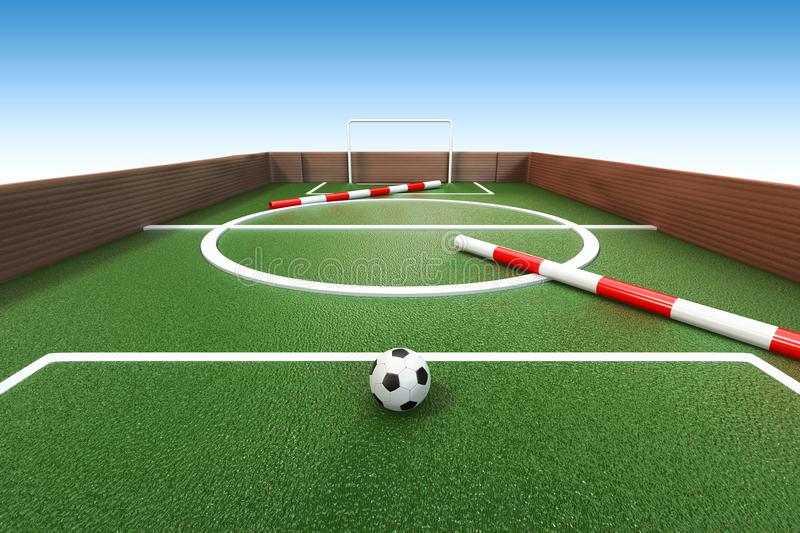 3d rendering close-up shot of cardboard soccer game with a football in foreground and clipping paths for isolated a blue sky back stock illustration